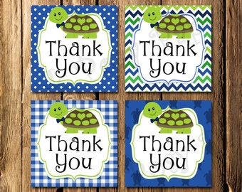 Printable Turtle Boy Baby Shower Thank You Tags - Instant Download
