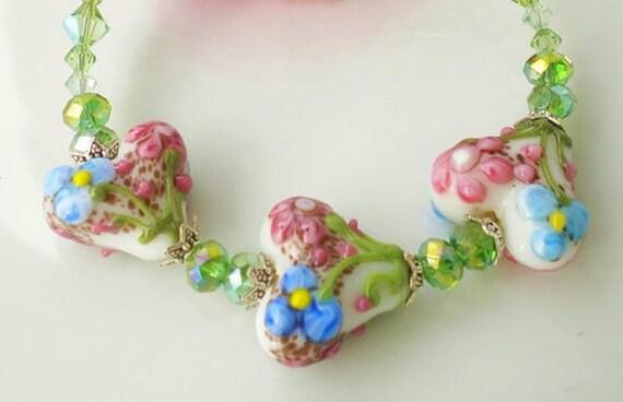 Artisan Lampwork Bracelet Floral Hearts Swarovski Crystals Peridot Crystals