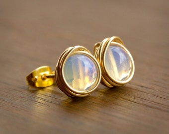 Irresistibly Shimmering Pair of Wire Wrapped Stud Earrings - Opalite Beads Wire Wrapped with Gold-Plated Wire
