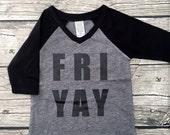 Girls Boys Unisex Friyay Baseball T 3/4 Sleeve T Shirt Black Gray modern graphic trendy