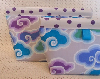 Periwinkle Clouds Oilcloth Snappy Pouch - 2 sizes