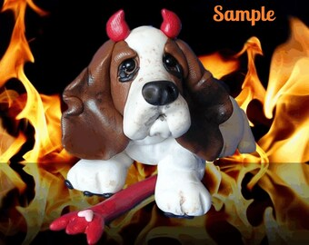 Whimsical Basset Hound Halloween Devil Dog polymer clay OOAK sculpture by Sally's Bits of Clay