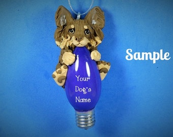 chocolate and tan long haired Chihuahua Dog Christmas Light Bulb Ornament Sally's Bits of Clay OOAK PERSONALIZED FREE with dog's name