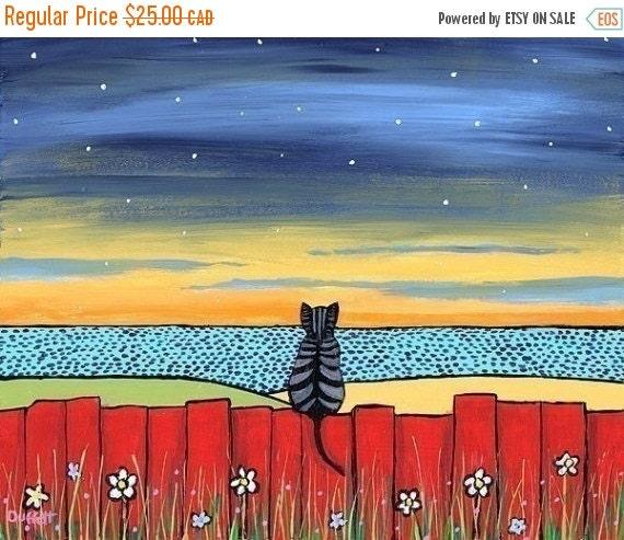 ON SALE Twilight Tabby Cat  -  Print