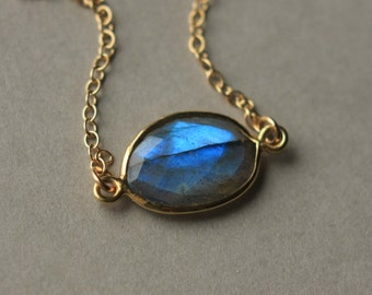 Faceted Labradorite Necklace, Gold Gemstone Necklace, Labradorite Jewelry, Labradorite Pendant Bezel Set, Gold Chain, Jewelry Gift