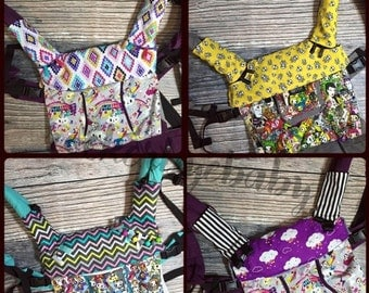SUMMER SALE Custom Bib for your Lillebaby and other carriers Skull skulls Mustache Chevron Tattoo Guitar prints with minky lining and