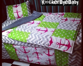 SUMMER SALE Deluxe design CUSTOM punk baby 3 piece Mixed Prints Candy Pink Chevron Anchor crib bedding set fabric skull and crossbones girl