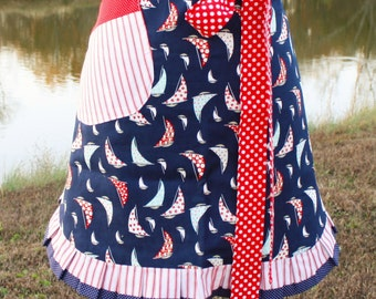 Womens apron Nautical Boat Waist Reversible Red White and Blue small medium
