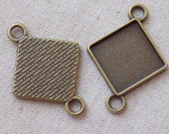 5 Rhombus Settings - Antique Bronze tone 32 x 23mm