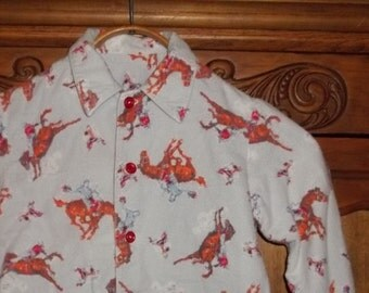 Vintage Cowboy Little Boys,Toddler Shirt Flannel Pajamas Top Shirt ,1950's -60's Classic Cowboy Rodeo Bucking Bronco Western Rider