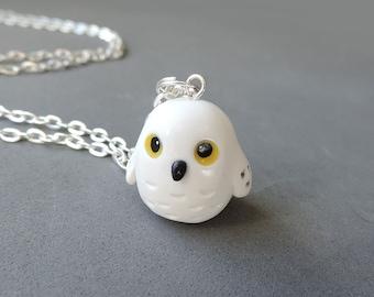 Polymer Clay Charm White Snowy Owl Necklace