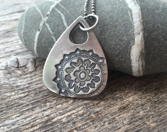 Triangle mandala  pendant and ball chain. Recycled sterling silver, hand made pendant.