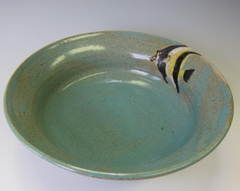 Stoneware Serving Bowl - Tropical Fish - Moorish Idol - Handmade Pottery