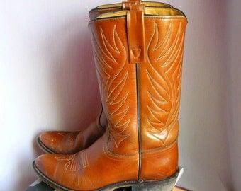 Vintage ACME Leather Western Boots / Ladies size 9 M  Eu 40 UK 6 .5 / Flame Stitched Mens sz 7 .5 D Width / Cognac Tan Brown USA Cowboy