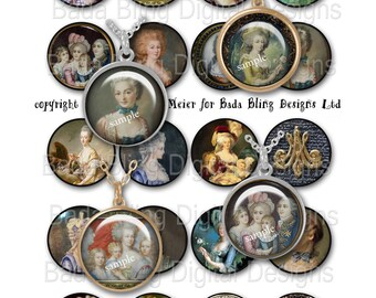 Marie Antoinette, Before The Fall...INSTANT Download at Checkout,collage sheets for jewelry, Marie Antoinette collage sheets,1.5ich circles