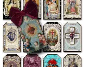 Religious Images For Gift Tags...religious collage sheets, 3 x 2 tags, INSTANT Download at Checkout, madonna, Holy Mother, Christ