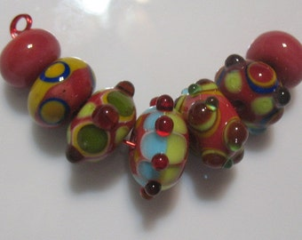 Lampwork beads-handmade beads-bead set-handmade glass beads-beading supplies-lampwork SRA