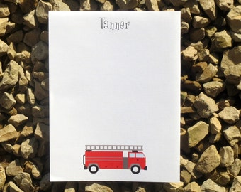 Fire Truck Kids Stationery - Personalized - Kids Stationery - Notepads and Notecards
