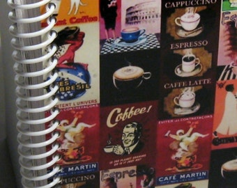 Italian Coffee Blank Recipe Book, Spiral Pocket Notebook, A6, Blank Sketchbook, Writing Journal, Paper, Posters, Back to School, Small Diary