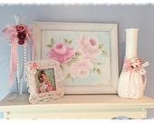 """White Framed 8""""x10"""" Orignal Hand Painted ART Pale Pinks,White Roses Shabby Chic ecs cst schteam svfteam"""