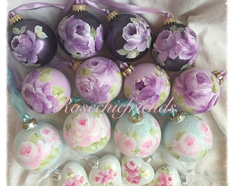 """2.5"""" Purple ORNAMENTS Hand Painted  Lavender Roses Glass Round Ball ecs SVFTeam sct schteam"""