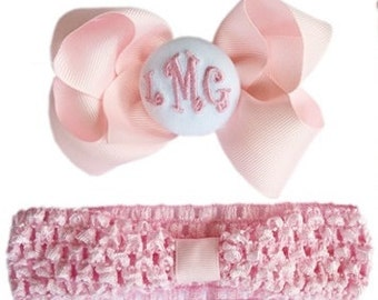 FOREVER Hair Bow Monogram Initials on Headband Detachable Hair Bow newborn baby shower gift, baby girl infant newborn White Hair Bow Pink