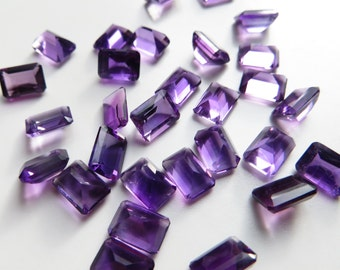 Amethyst - Princess-Cut LOT, 27.75 cts - 30 pieces - 5x7 (A111)