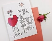 HEART ON for you Valentines Day greeting card