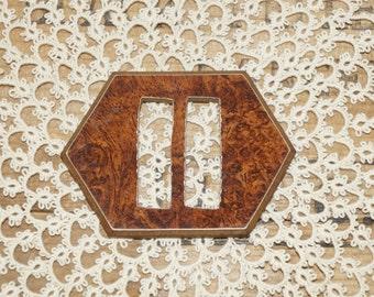 antique art deco buckle  wood composition buckle   Woodite Burwood