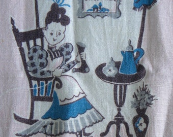 Linen Kitchen Towel Vintage Towel Pink Turquoise and Gray Grandma Darning Scene Home Sweet Home