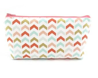 Coral and Mint Arrows Cosmetic Bag, Zip Pouch, Makeup Bag, Pencil Case, Zipper Bag