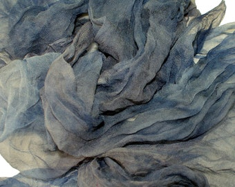 GUNMETAL  in  Hand Dyed Silk Gauze  for Nuno Felting