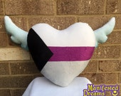 Demisexual Pride Pillow Heart with Wings black white purple grey