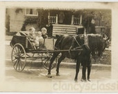 vintage photo 1920 Children Ride in Horse and CArt Snapshot Photo RPPC