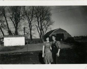 Vintage photo 1947 Teenage Girls on Farm Overalls & Dressy Sister