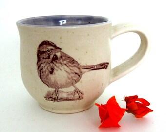 Ceramic Mug - Song Sparrow - Ready to Ship - 14 oz  - Hand Thrown Stoneware