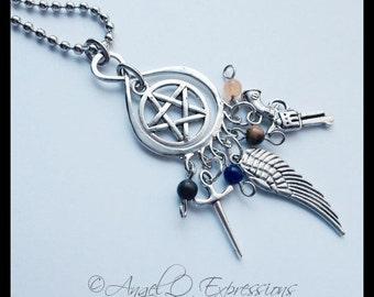 Supernatural Universal Hunter Power Necklace with Brecchiated Jasper, Blue Aventurine, Tiger's Eye, and Quartzite OOAK