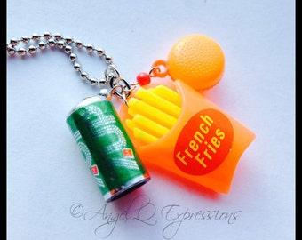 Drive Thru Junkie Fast Food Charm Necklace with 7Up, French Fries, and a Burger