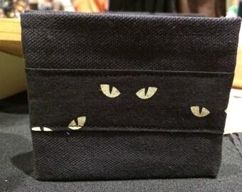 Black cat eyes handmade canvas lightweight sturdy wallet