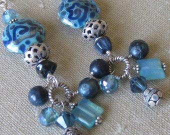 Blue Bounty Earrings of Handmade Glass, Stones, Pearls, Swarovski Crystals, & Bali Silver Beads - E