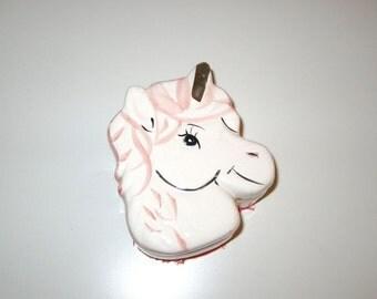 Unicorn Box - Vintage Ceramic Box with Lid - White Pink and Metallic Gold