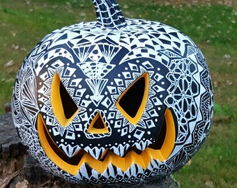 Halloween Decor Light up Pumpkin Jack-o-Lantern, Day of the Dead