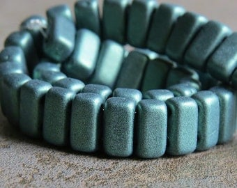 Metallic Suede Green CzechMates Czech Glass Bead 6mm Two Hole Brick : 50 pc Green Brick