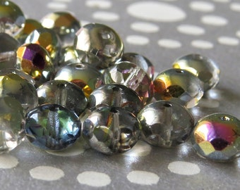 Crystal Marea Czech Glass Bead 9x6mm Faceted Rondelle :  12 pc Gemstone Cut Donut