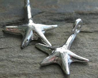 Star Fish Charm Sterling Silver 16mm x 10mm : 2 pc Silver Starfish Charm