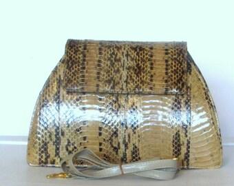 Vintage Snake Skin Shoulder Bag J RENEE Python Stripe Clutch Handbag