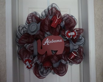 PRICE REDUCED Alabama wreath, sports wreath, bama wreath,elephant wreath, crimson tide wreath, door wreath