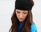 Fabulous Basic DEEP BLACK Extra Wide Headband Bandana Hairwrap Headwrap