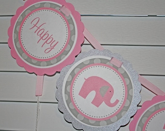 ELEPHANT Birthday Banner / Pink Elephant Banner / Pink Elephant Birthday Banner / Pink Elephant Birthday / Elephant Birthday/Elephant Shower
