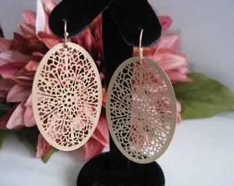 filigree earrings, metal earrings, filigree, dangle earrings, gold earrings, large earrings, drop earrings, long earrings, metal beads